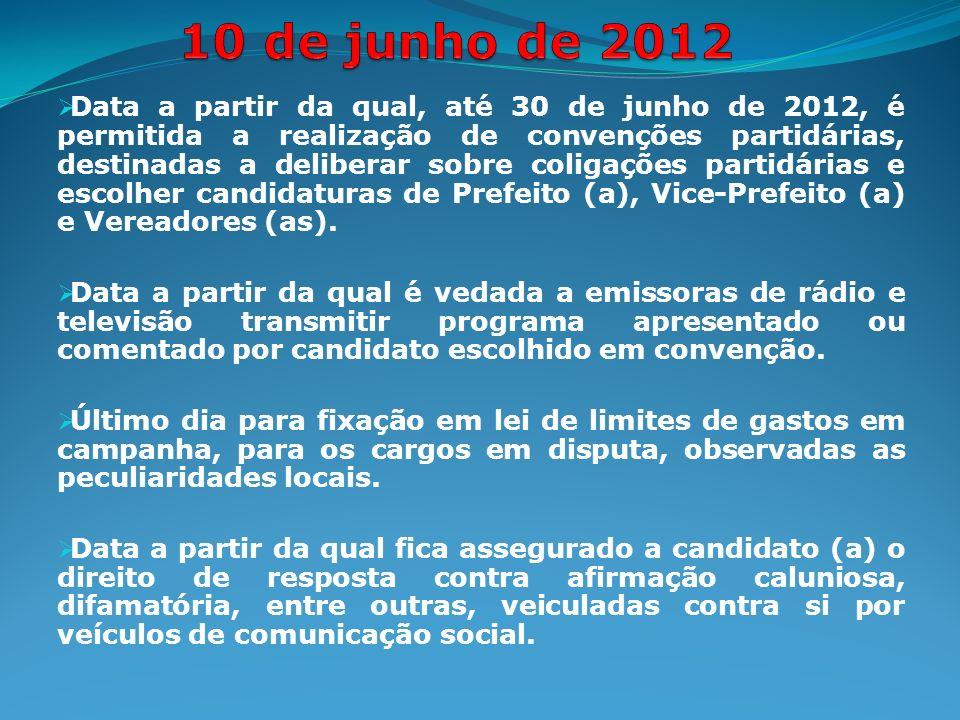Data a partir da qual, até 30 de junho de 2012, é permitida a realização de convenções partidárias, destinadas a deliberar sobre coligações partidárias e escolher candidaturas de Prefeito (a), Vice-Prefeito (a) e Vereadores (as).