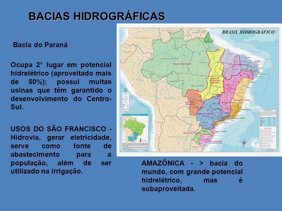 BACIAS HIDROGRÁFICAS Bacia do Paraná Ocupa 2° lugar em potencial hidrelétrico (aproveitado mais de 50%); possui muitas usinas que têm garantido o dese