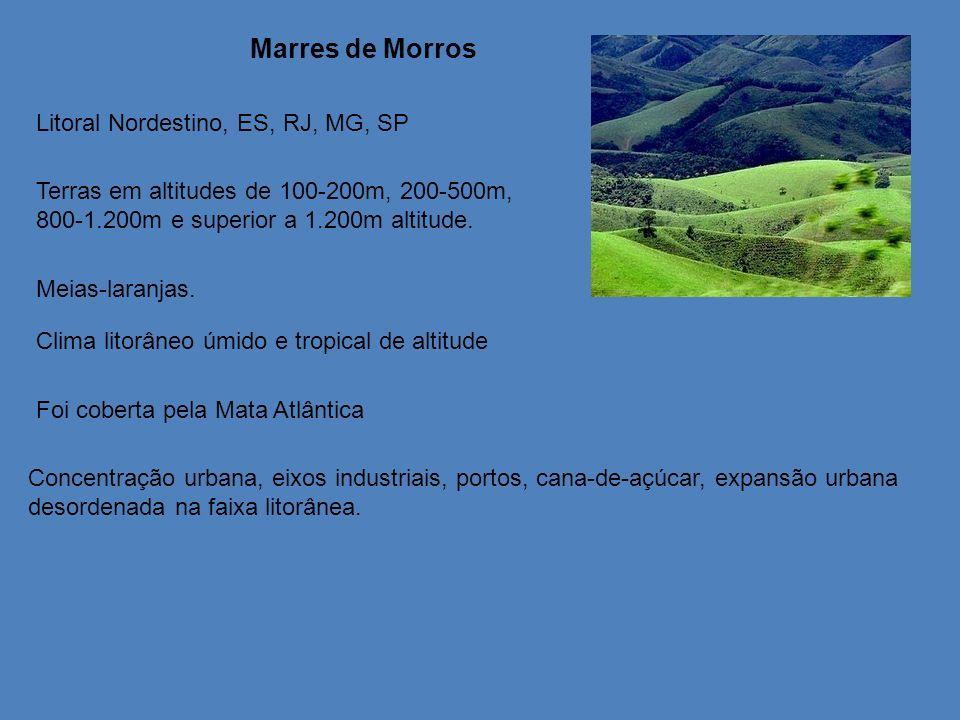 Marres de Morros Litoral Nordestino, ES, RJ, MG, SP Terras em altitudes de 100-200m, 200-500m, 800-1.200m e superior a 1.200m altitude. Meias-laranjas