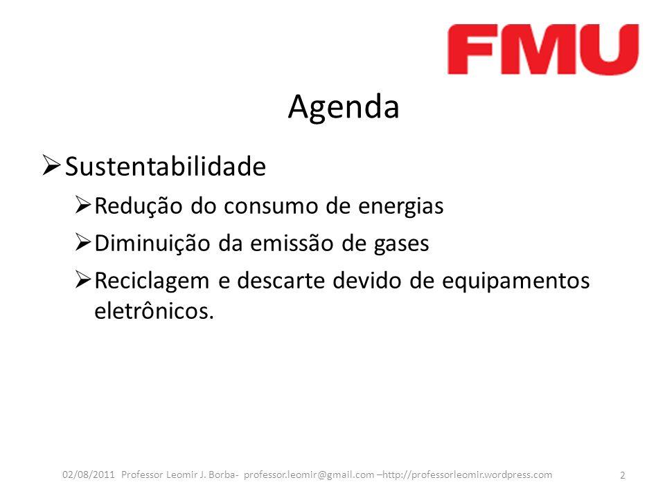 Agenda Sustentabilidade Redução do consumo de energias Diminuição da emissão de gases Reciclagem e descarte devido de equipamentos eletrônicos.