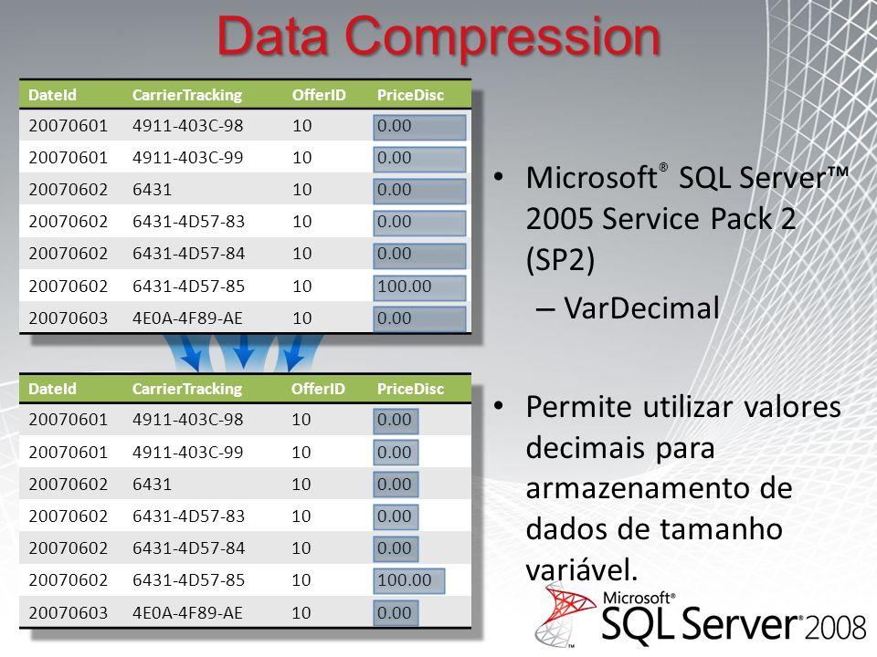 Microsoft ® SQL Server 2005 Service Pack 2 (SP2) – VarDecimal Permite utilizar valores decimais para armazenamento de dados de tamanho variável.