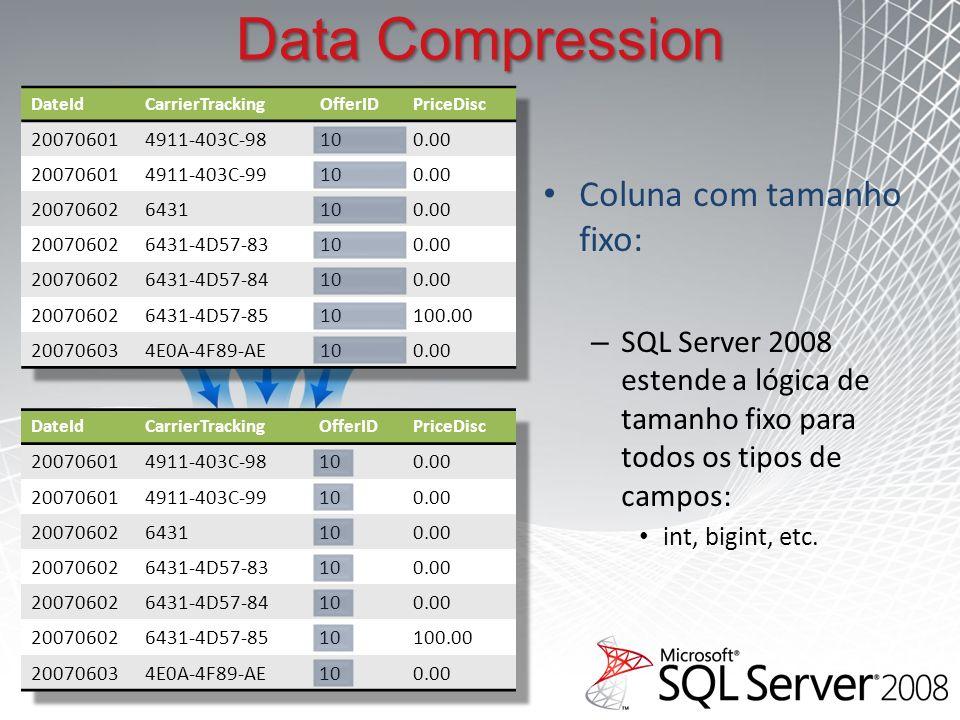Data Compression Coluna com tamanho fixo: – SQL Server 2008 estende a lógica de tamanho fixo para todos os tipos de campos: int, bigint, etc.