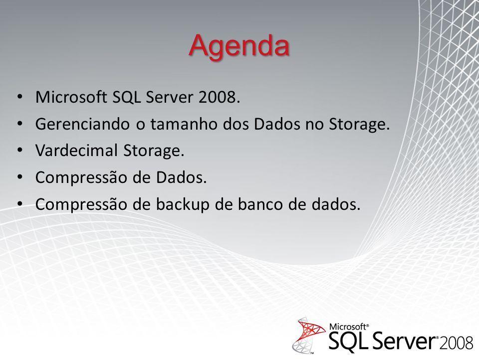 Agenda Microsoft SQL Server 2008.Gerenciando o tamanho dos Dados no Storage.