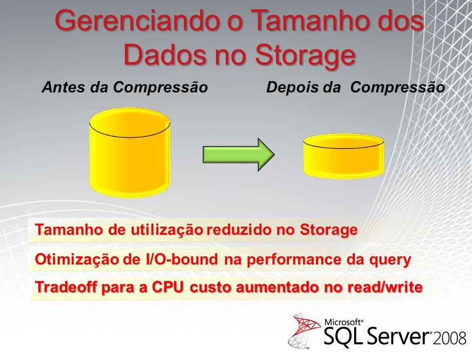 Gerenciando o Tamanho dos Dados no Storage Tamanho de utilização reduzido no Storage Otimização de I/O-bound na performance da query Tradeoff para a CPU custo aumentado no read/write Antes da CompressãoDepois da Compressão