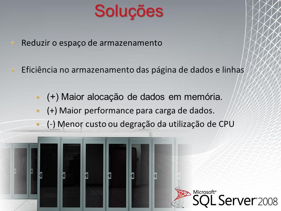 Soluções Reduzir o espaço de armazenamento Eficiência no armazenamento das página de dados e linhas (+) Maior alocação de dados em memória.