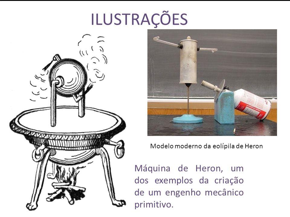 ILUSTRAÇÕES Máquina de Heron, um dos exemplos da criação de um engenho mecânico primitivo.