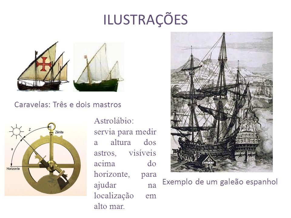 ILUSTRAÇÕES Exemplo de um galeão espanhol Caravelas: Três e dois mastros Astrolábio: servia para medir a altura dos astros, visíveis acima do horizonte, para ajudar na localização em alto mar.
