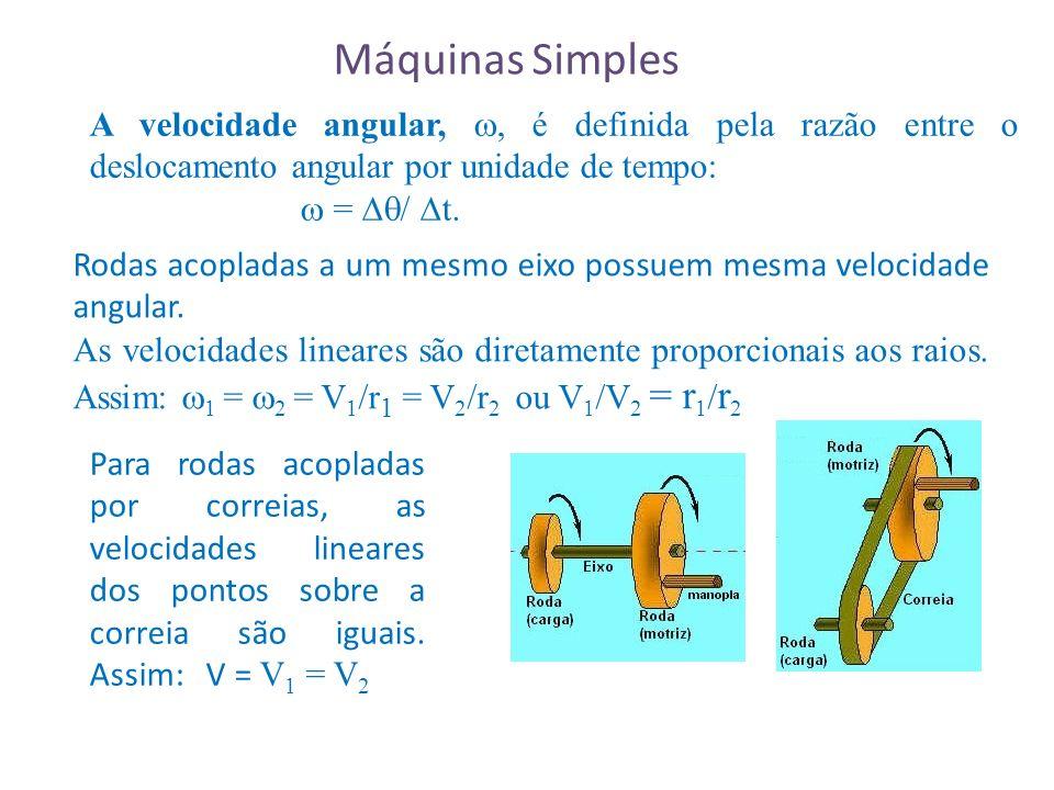 A velocidade angular,, é definida pela razão entre o deslocamento angular por unidade de tempo: = / t.