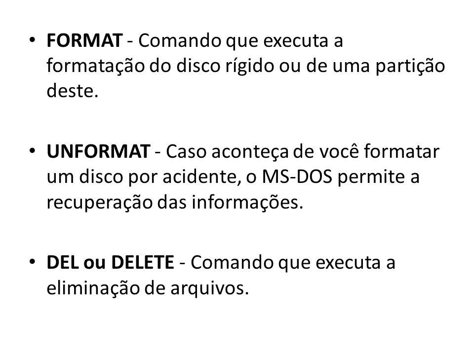 FORMAT - Comando que executa a formatação do disco rígido ou de uma partição deste.