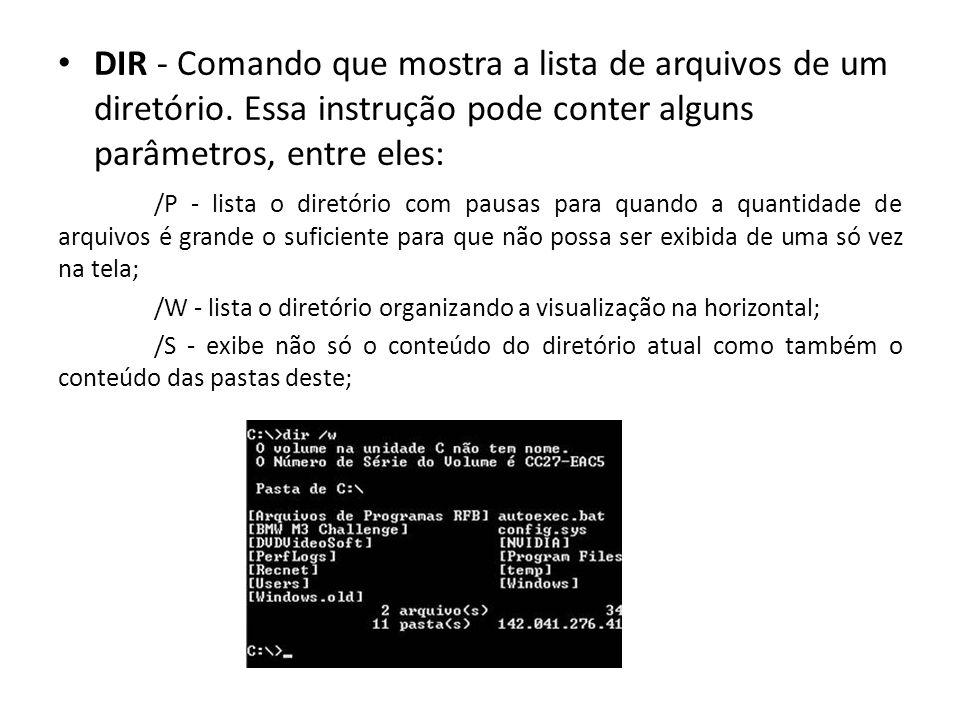DIR - Comando que mostra a lista de arquivos de um diretório.