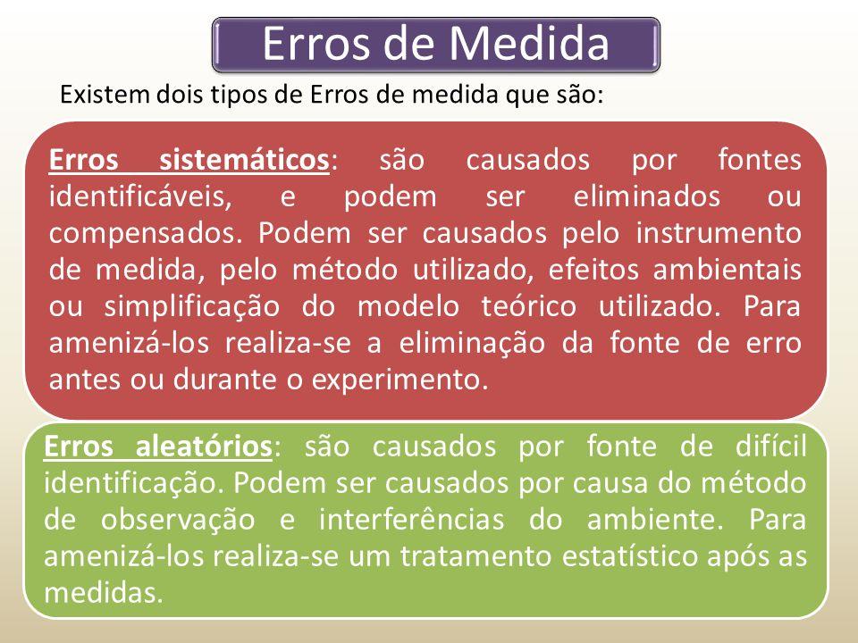 Erros de Medida Erros sistemáticos: são causados por fontes identificáveis, e podem ser eliminados ou compensados.