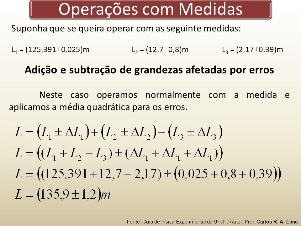 Operações com Medidas Suponha que se queira operar com as seguinte medidas: L 1 = (125,391 0,025)mL 2 = (12,7 0,8)mL 3 = (2,17 0,39)m Adição e subtração de grandezas afetadas por erros Neste caso operamos normalmente com a medida e aplicamos a média quadrática para os erros.