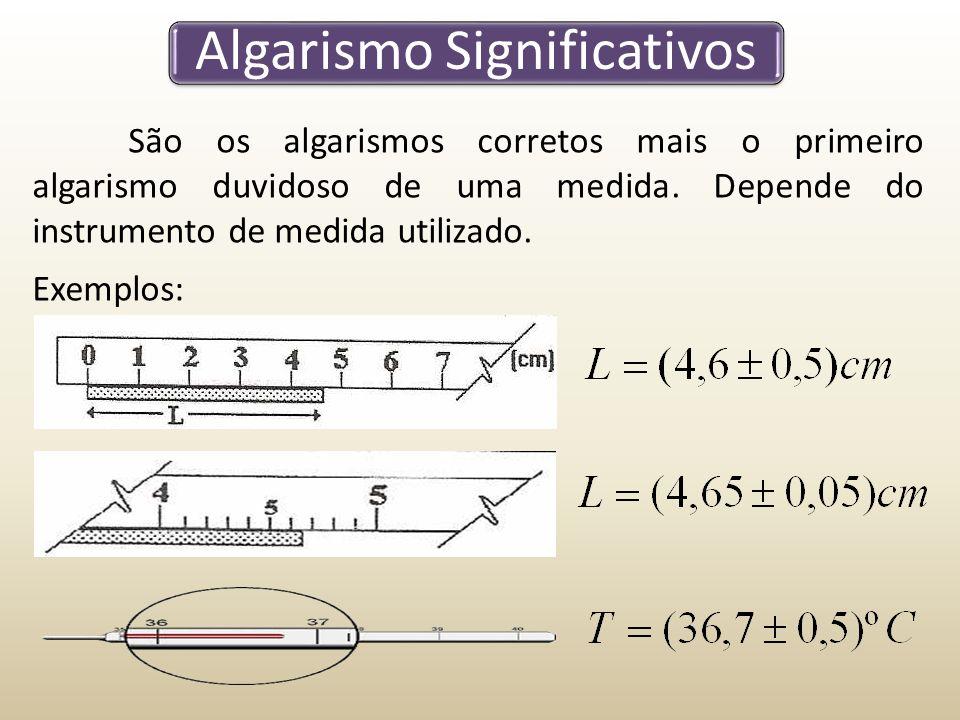 Algarismo Significativos São os algarismos corretos mais o primeiro algarismo duvidoso de uma medida.