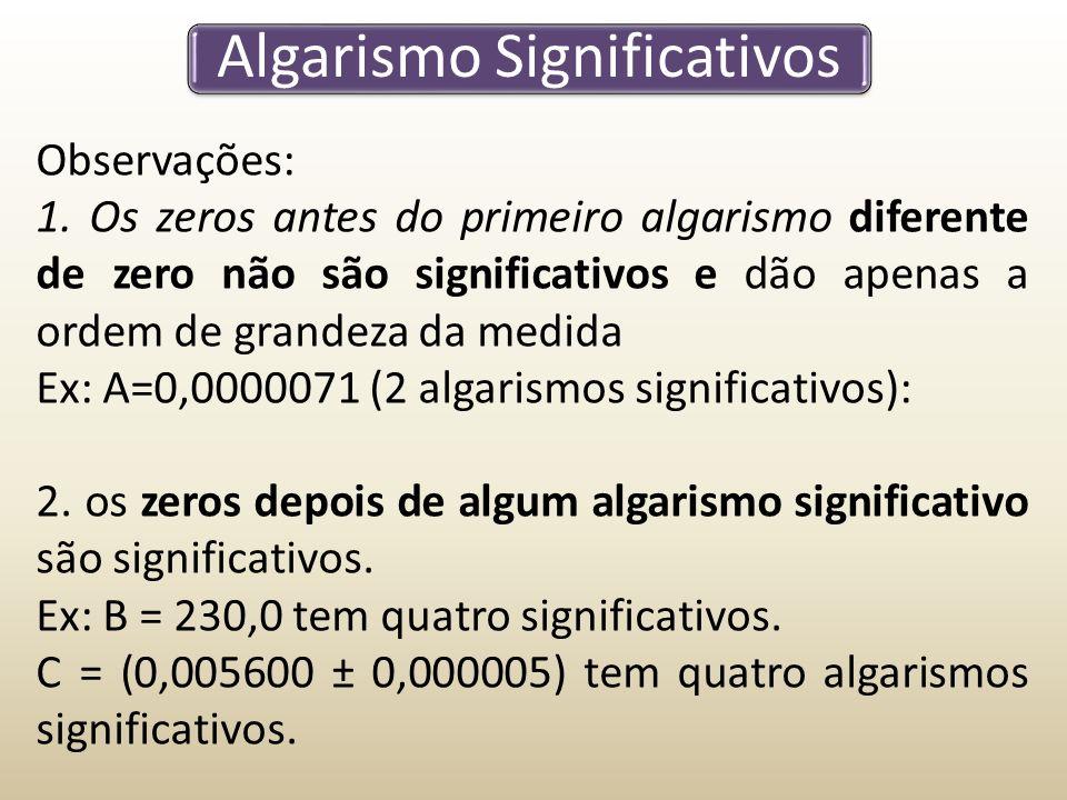 Algarismo Significativos Observações: 1.