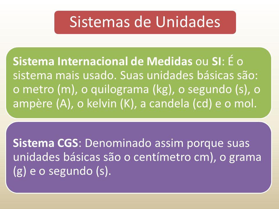 Sistemas de Unidades Sistema Internacional de Medidas ou SI: É o sistema mais usado.