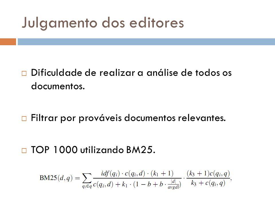 Julgamento dos editores Dificuldade de realizar a análise de todos os documentos. Filtrar por prováveis documentos relevantes. TOP 1000 utilizando BM2