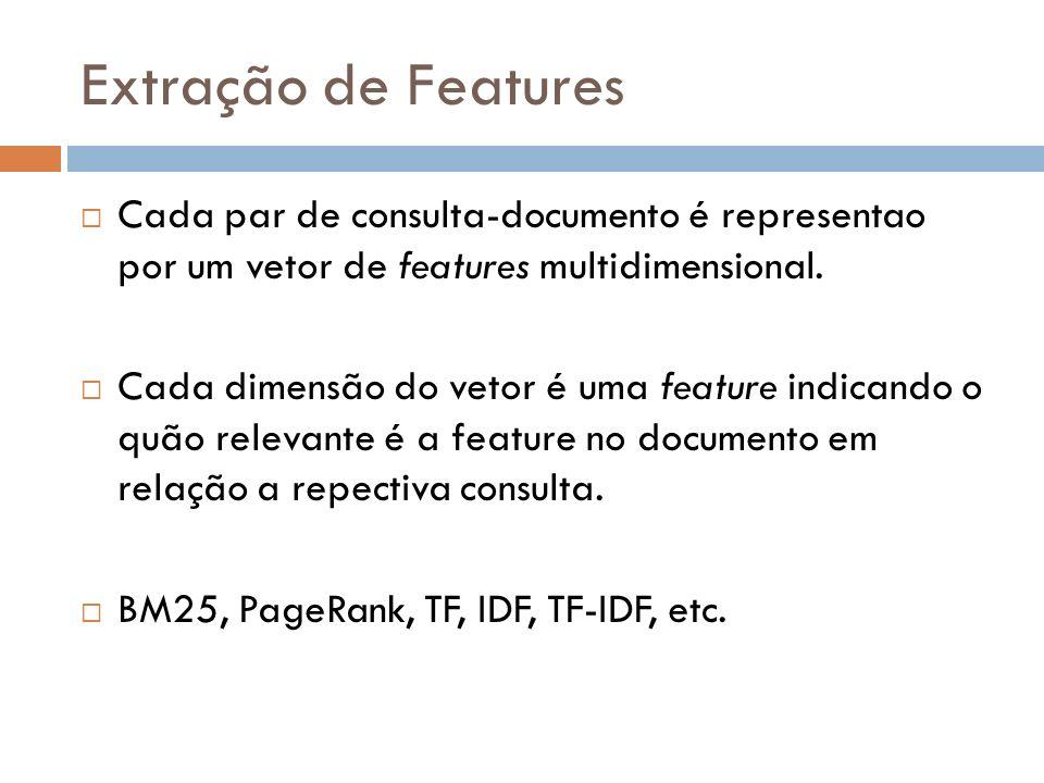 Extração de Features Cada par de consulta-documento é representao por um vetor de features multidimensional. Cada dimensão do vetor é uma feature indi