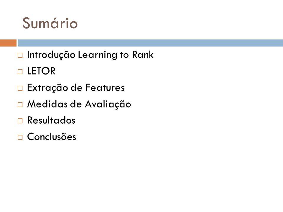 Learning to rank Ranking problema central em muitas aplicações de recuperação da informação.