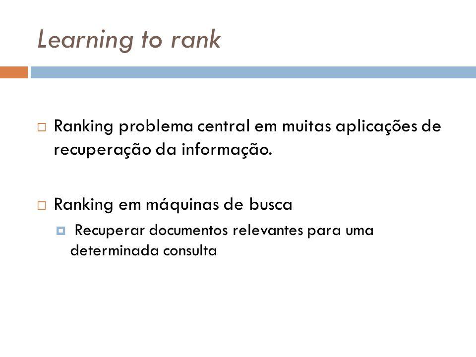 Learning to rank Ranking problema central em muitas aplicações de recuperação da informação. Ranking em máquinas de busca Recuperar documentos relevan