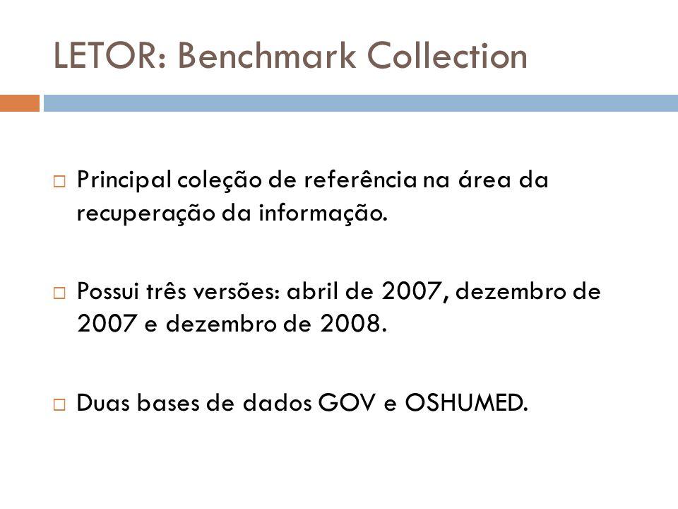 LETOR: Benchmark Collection Principal coleção de referência na área da recuperação da informação. Possui três versões: abril de 2007, dezembro de 2007