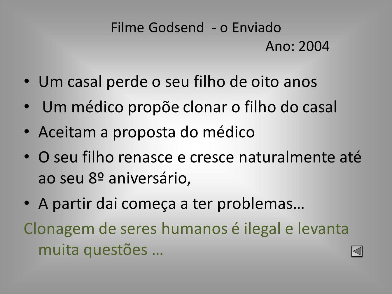 Filme Godsend - o Enviado Ano: 2004 Um casal perde o seu filho de oito anos Um médico propõe clonar o filho do casal Aceitam a proposta do médico O se