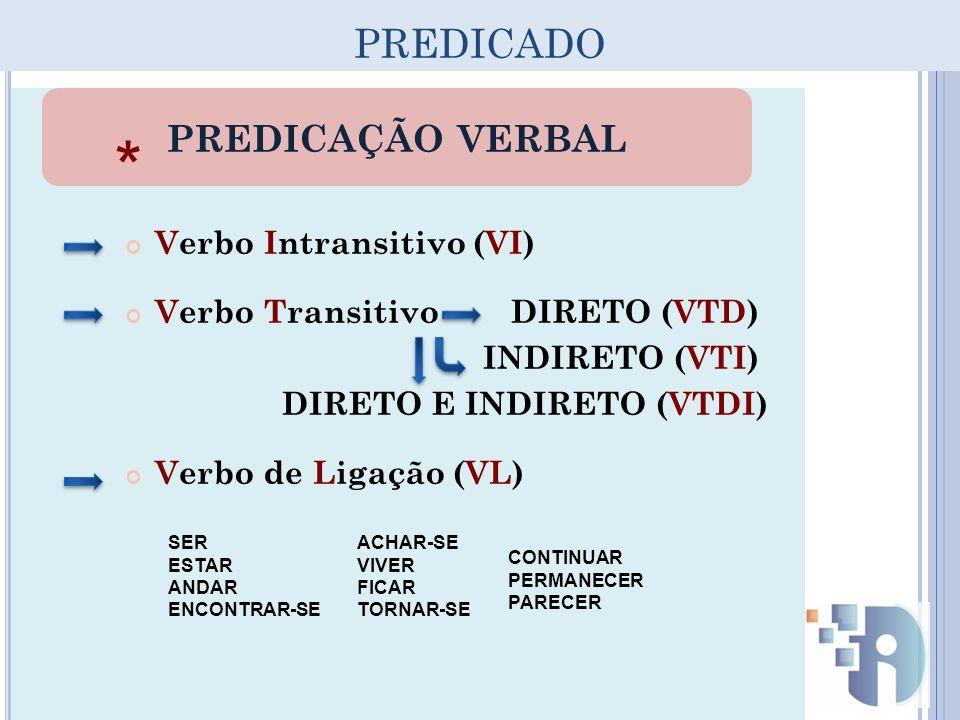 PREDICADO Verbo Intransitivo (VI) Verbo Transitivo DIRETO (VTD) INDIRETO (VTI) DIRETO E INDIRETO (VTDI) Verbo de Ligação (VL) SER ESTAR ANDAR ENCONTRA