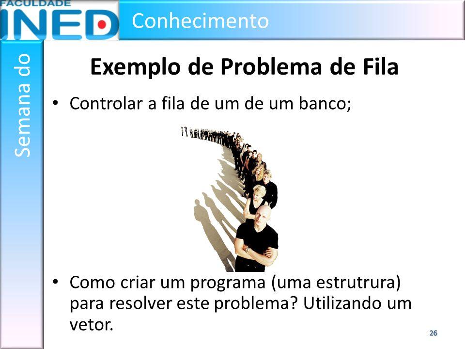 Conhecimento Semana do Exemplo de Problema de Fila Controlar a fila de um de um banco; Como criar um programa (uma estrutrura) para resolver este prob
