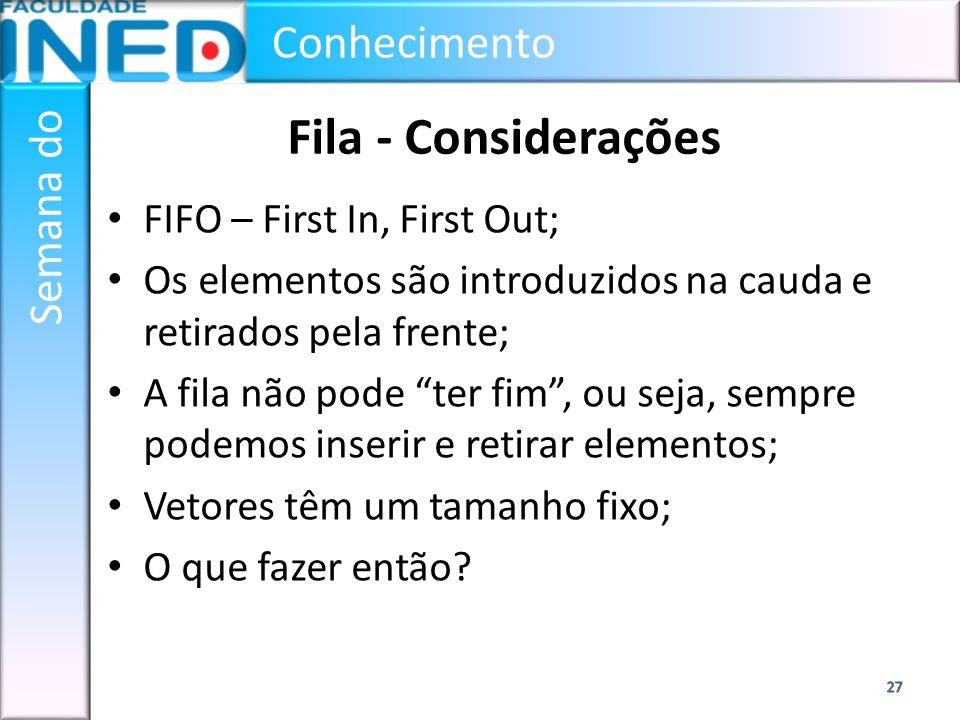 Conhecimento Semana do Fila - Considerações FIFO – First In, First Out; Os elementos são introduzidos na cauda e retirados pela frente; A fila não pod