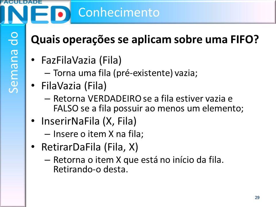 Conhecimento Semana do Quais operações se aplicam sobre uma FIFO? FazFilaVazia (Fila) – Torna uma fila (pré-existente) vazia; FilaVazia (Fila) – Retor