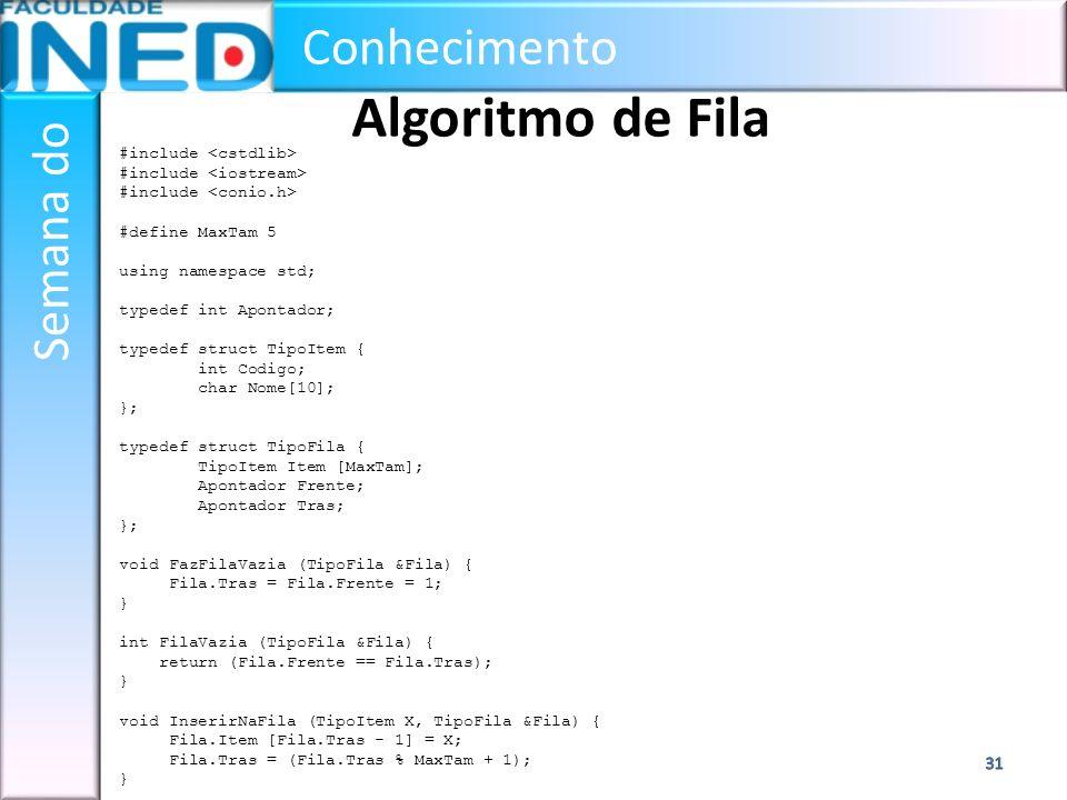 Conhecimento Semana do Algoritmo de Fila #include #define MaxTam 5 using namespace std; typedef int Apontador; typedef struct TipoItem { int Codigo; c