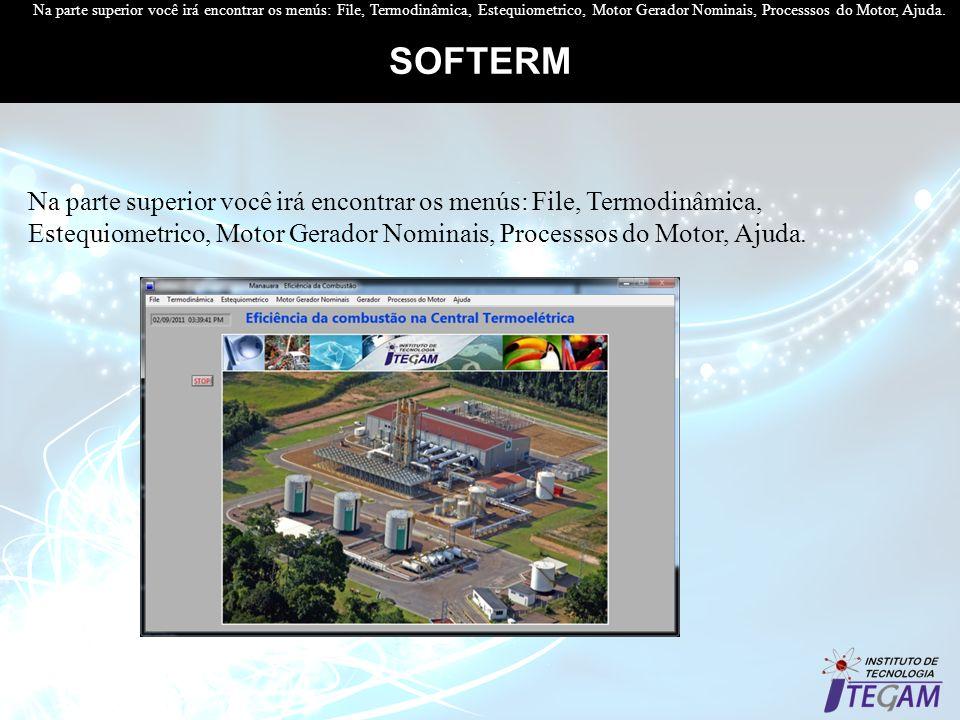 SOFTERM Na parte superior você irá encontrar os menús: File, Termodinâmica, Estequiometrico, Motor Gerador Nominais, Processsos do Motor, Ajuda. Na pa