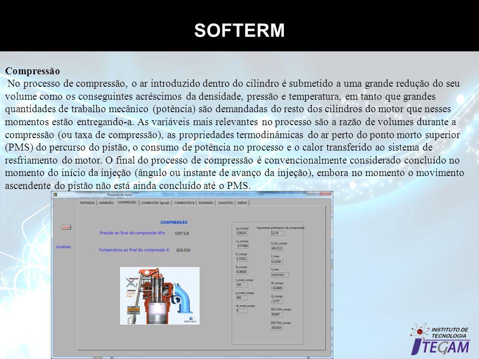 SOFTERM Propriedades termodinâmicas dos gases Compressão No processo de compressão, o ar introduzido dentro do cilindro é submetido a uma grande reduç