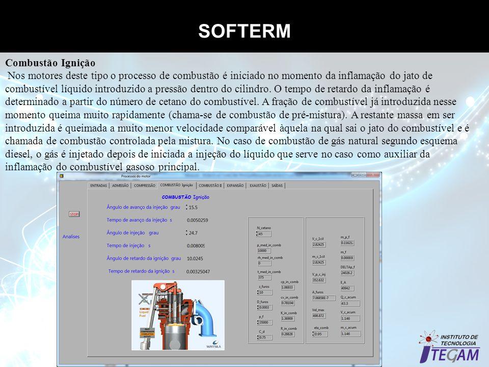 SOFTERM Propriedades termodinâmicas dos gases Combustão Ignição Nos motores deste tipo o processo de combustão é iniciado no momento da inflamação do