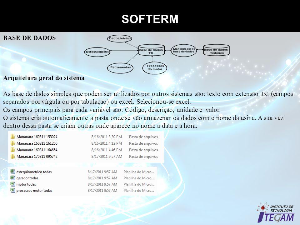 SOFTERM Propriedades termodinâmicas dos gases BASE DE DADOS Arquitetura geral do sistema As base de dados simples que podem ser utilizados por outros
