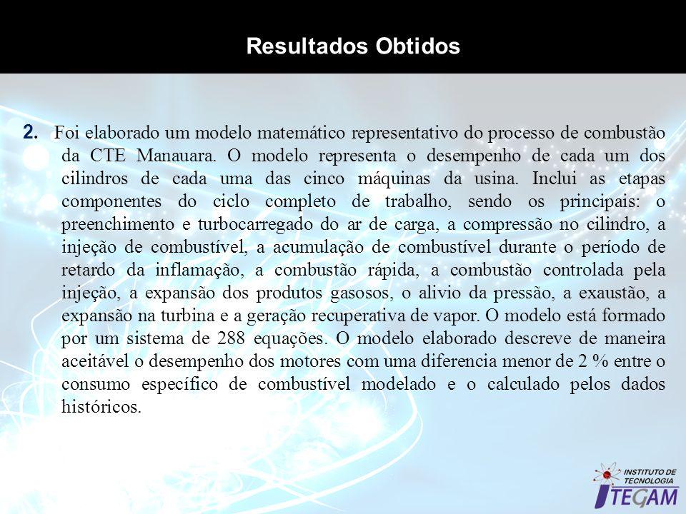 Resultados Obtidos 2. Foi elaborado um modelo matemático representativo do processo de combustão da CTE Manauara. O modelo representa o desempenho de