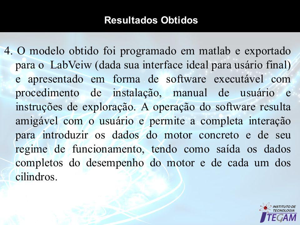 Resultados Obtidos 4. O modelo obtido foi programado em matlab e exportado para o LabVeiw (dada sua interface ideal para usário final) e apresentado e