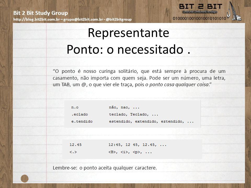Bit 2 Bit Study Group http://blog.bit2bit.com.br – grupo@bit2bit.com.br - @bit2bitgroup Quantificador Chaves: o controle {m,m} Aqui Chaves não é o au?tor mexicano preferido de 10 entre 10 brasileiros.