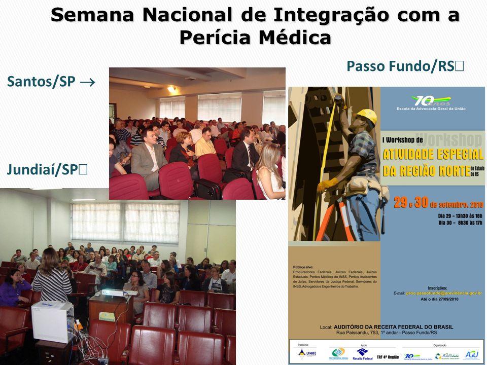 Semana Nacional de Integração com a Perícia Médica Jundiaí/SP Santos/SP Passo Fundo/RS
