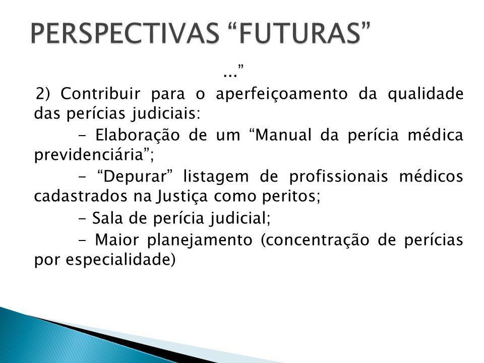 ... 2) Contribuir para o aperfeiçoamento da qualidade das perícias judiciais: - Elaboração de um Manual da perícia médica previdenciária; - Depurar li