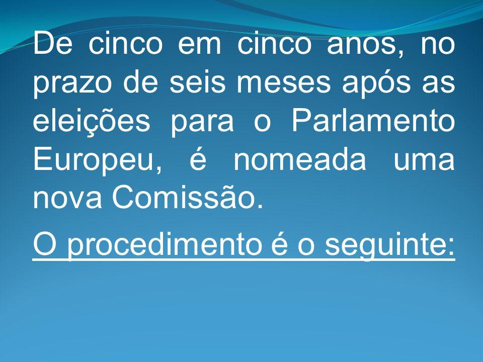 De cinco em cinco anos, no prazo de seis meses após as eleições para o Parlamento Europeu, é nomeada uma nova Comissão.
