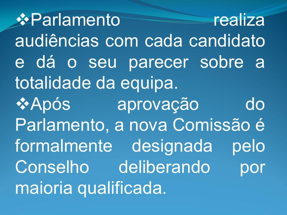 Parlamento realiza audiências com cada candidato e dá o seu parecer sobre a totalidade da equipa.