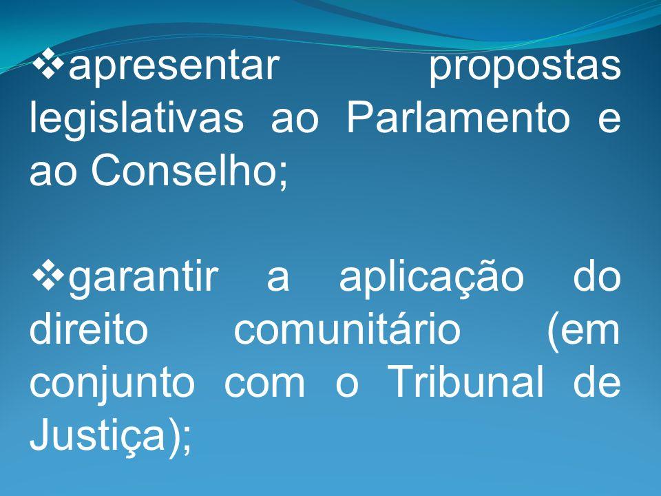 apresentar propostas legislativas ao Parlamento e ao Conselho; garantir a aplicação do direito comunitário (em conjunto com o Tribunal de Justiça);
