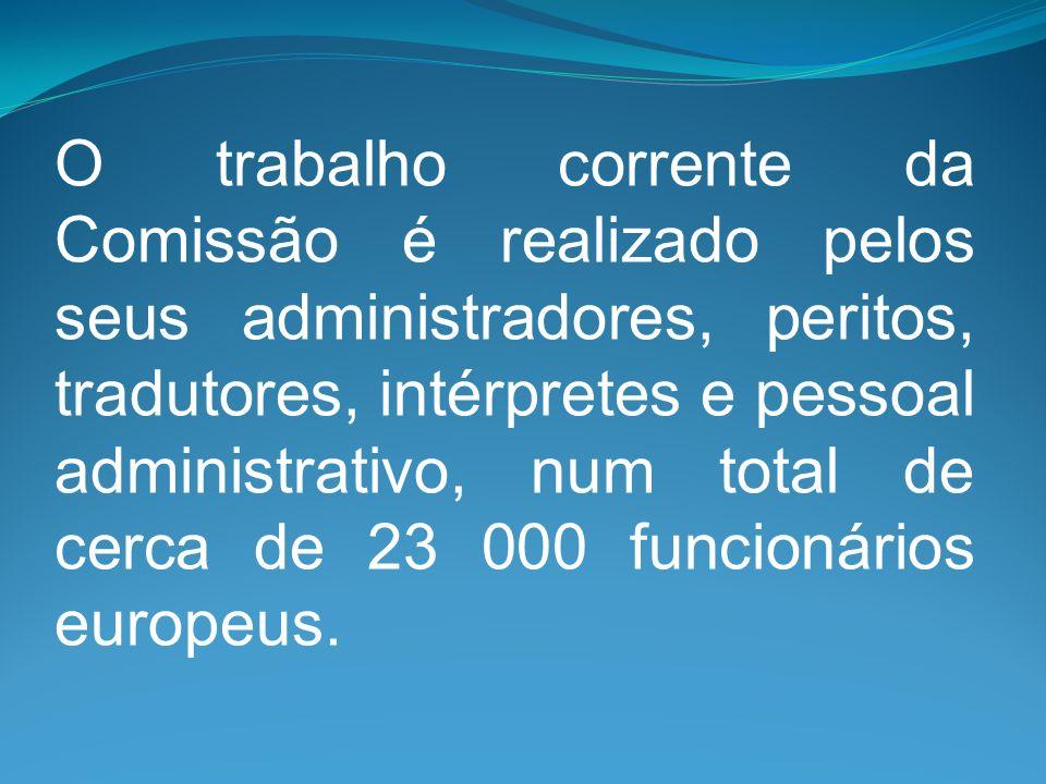 O trabalho corrente da Comissão é realizado pelos seus administradores, peritos, tradutores, intérpretes e pessoal administrativo, num total de cerca de 23 000 funcionários europeus.