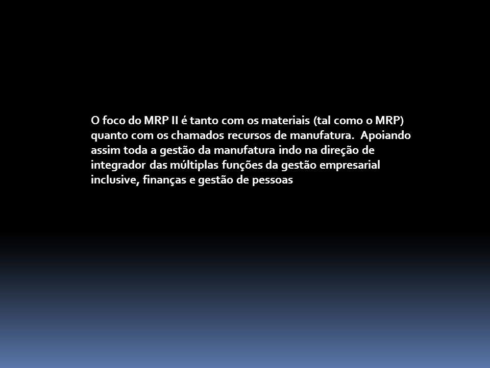 O foco do MRP II é tanto com os materiais (tal como o MRP) quanto com os chamados recursos de manufatura.