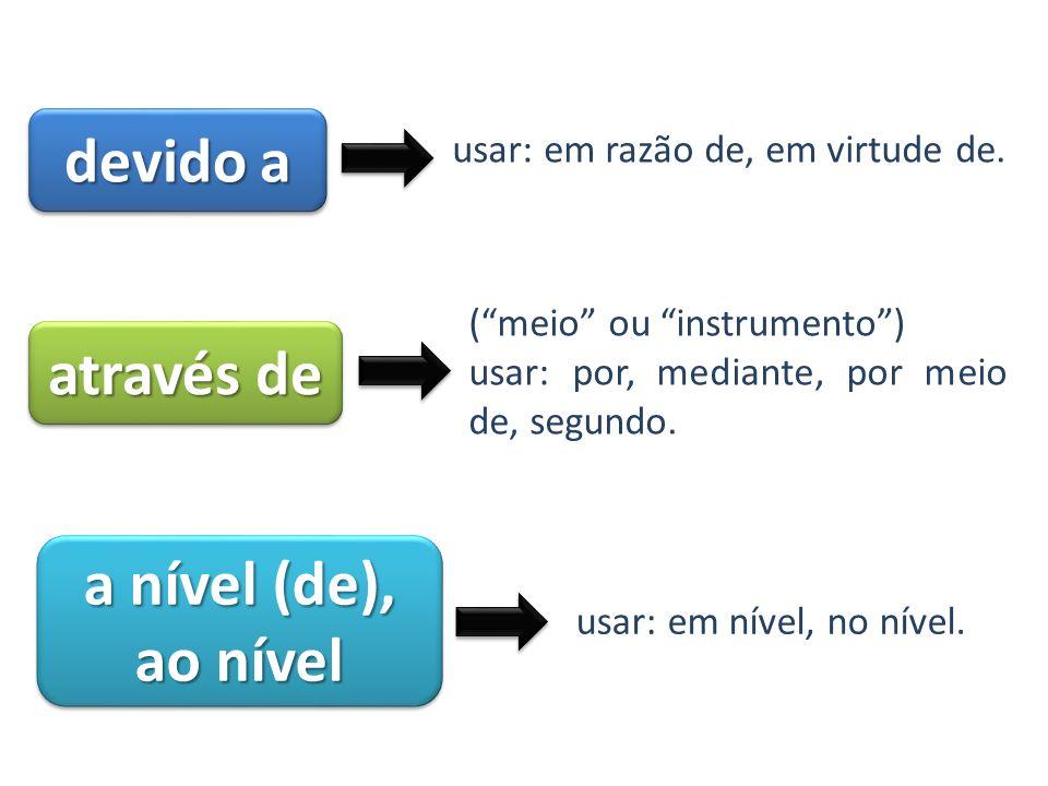 devido a usar: em razão de, em virtude de. através de (meio ou instrumento) usar: por, mediante, por meio de, segundo. a nível (de), ao nível usar: em