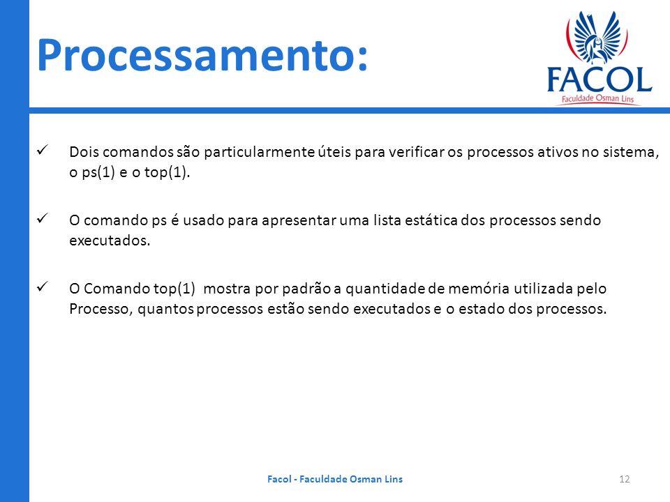 Processamento: Dois comandos são particularmente úteis para verificar os processos ativos no sistema, o ps(1) e o top(1). O comando ps é usado para ap