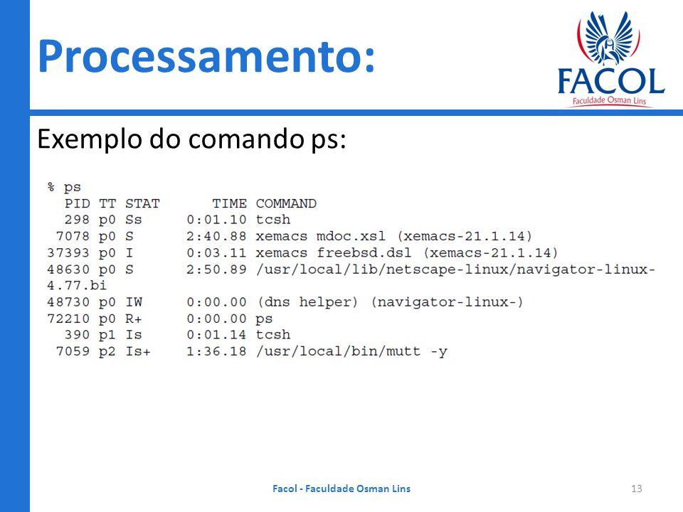 Processamento: Exemplo do comando ps: Facol - Faculdade Osman Lins13
