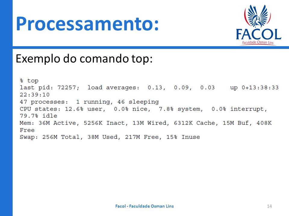 Processamento: Exemplo do comando top: Facol - Faculdade Osman Lins14