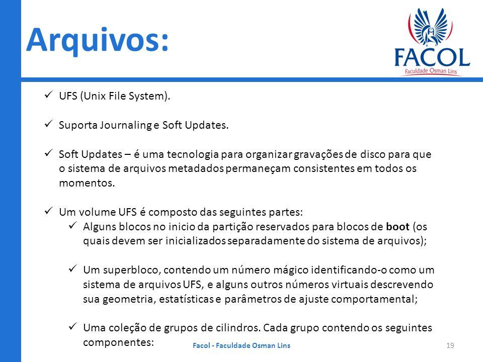 Arquivos: Facol - Faculdade Osman Lins19 UFS (Unix File System). Suporta Journaling e Soft Updates. Soft Updates – é uma tecnologia para organizar gra