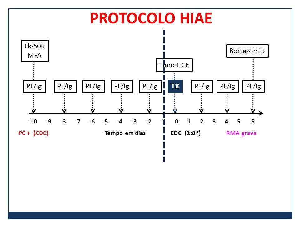 PF/Ig Fk-506 MPA -10 -9 -8 -7 -6 -5 -4 -3 -2 -1 0 1 2 3 4 5 6 PF/Ig TX Timo + CE Bortezomib PC + (CDC) Tempo em dias CDC (1:8?) RMA grave PROTOCOLO HI